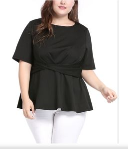 Agnes Orinda Juniors Plus Size 1X Blouse Top NWT